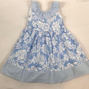 Savannah- Girls sz 6 sleeveless blue/white floral